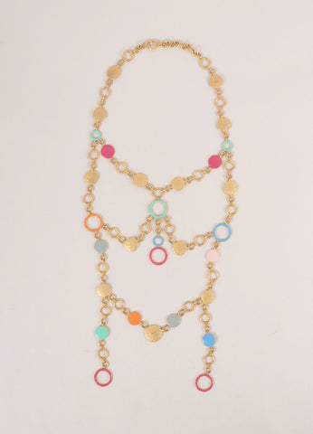 Missoni Gold Toned and Multicolor Hammered Layered Circle Link Long Necklace Frontview