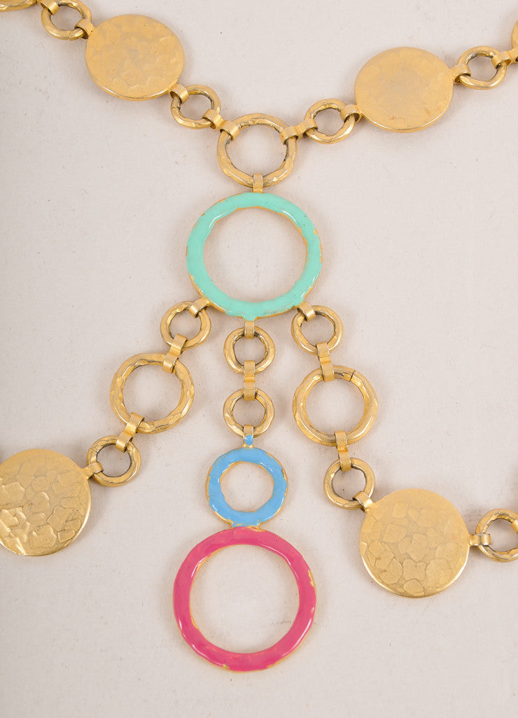 Missoni Gold Toned and Multicolor Hammered Layered Circle Link Long Necklace Detail