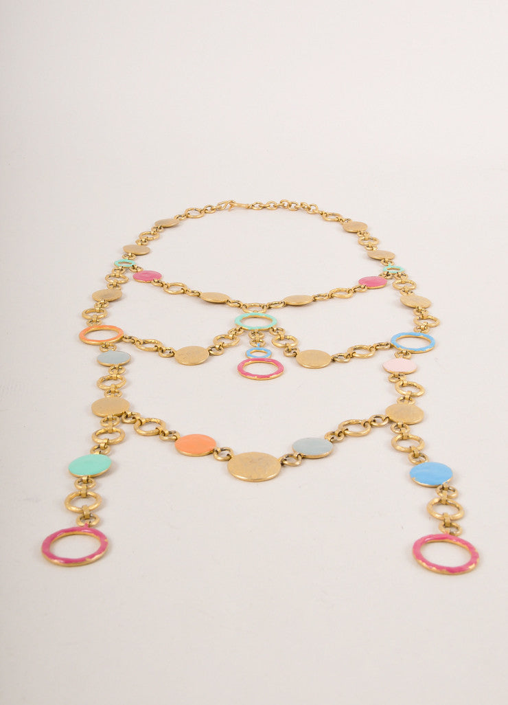 Missoni Gold Toned and Multicolor Hammered Layered Circle Link Long Necklace Sideview