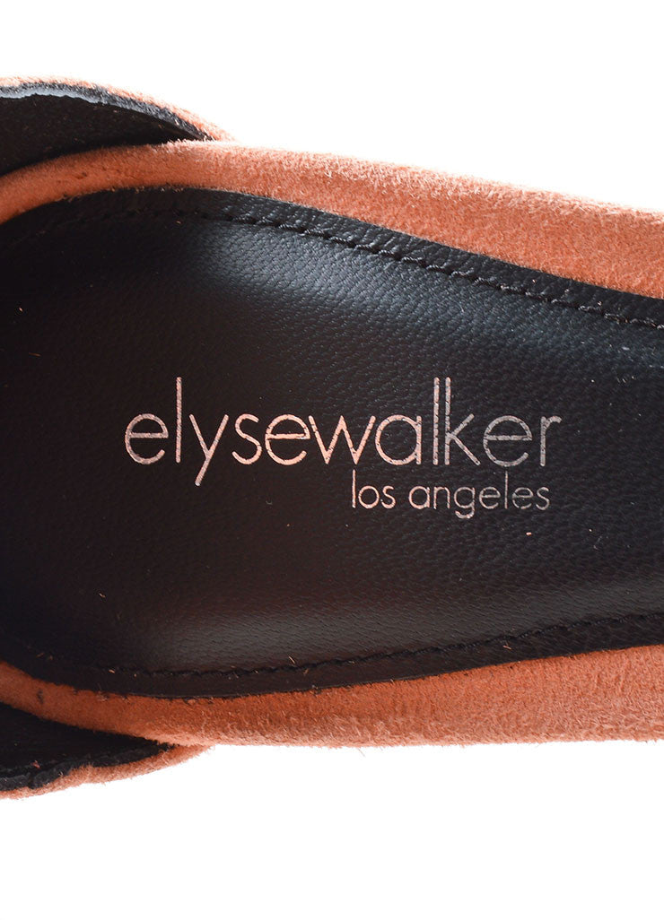 "Elyse Walker Peach Suede Fringe Ankle Strap ""Alex"" Heeled Sandals Brand"