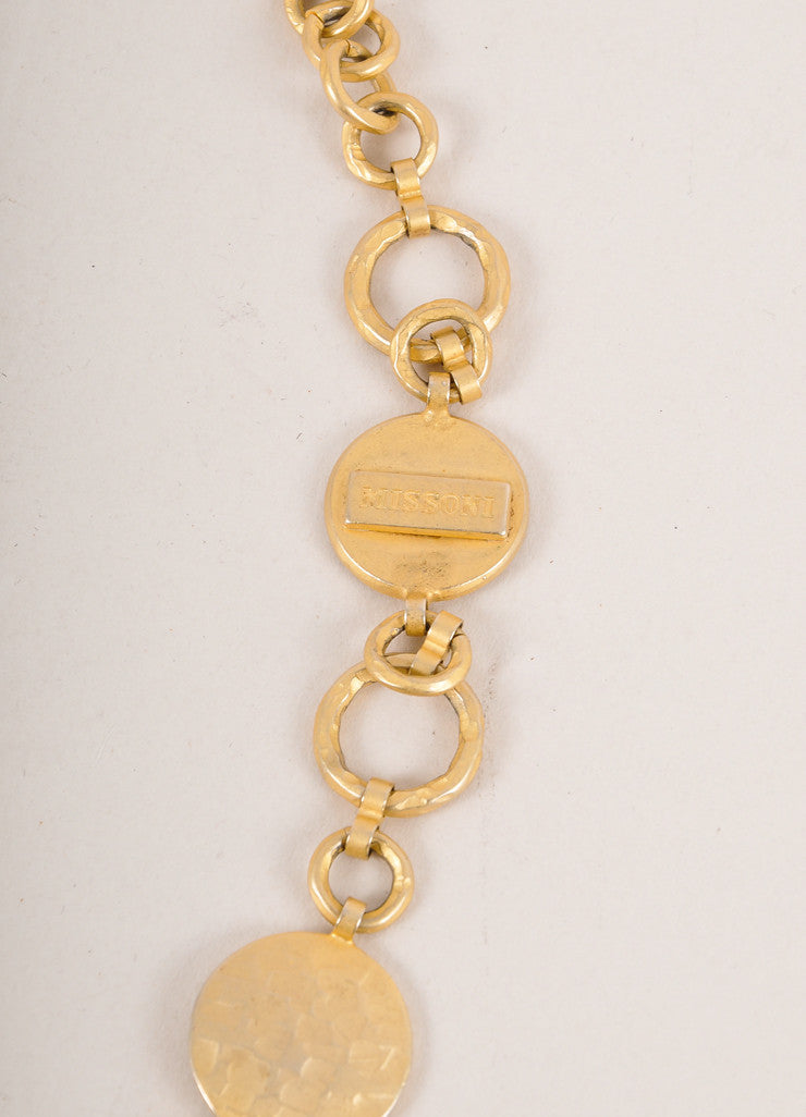 Missoni Gold Toned and Multicolor Hammered Layered Circle Link Long Necklace Detail 2