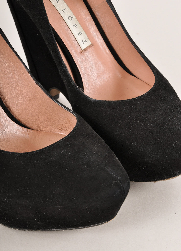 Pura Lopez Black Suede Leather Chunky Wedge Heel Pumps Detail