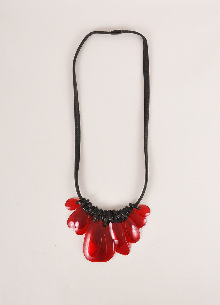 Monies Black and Red Semi-Clear Resin Chips and Leather Long Statement Necklace Frontview