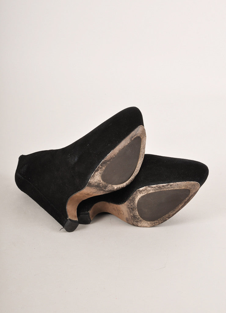 Pura Lopez Black Suede Leather Chunky Wedge Heel Pumps Outsoles