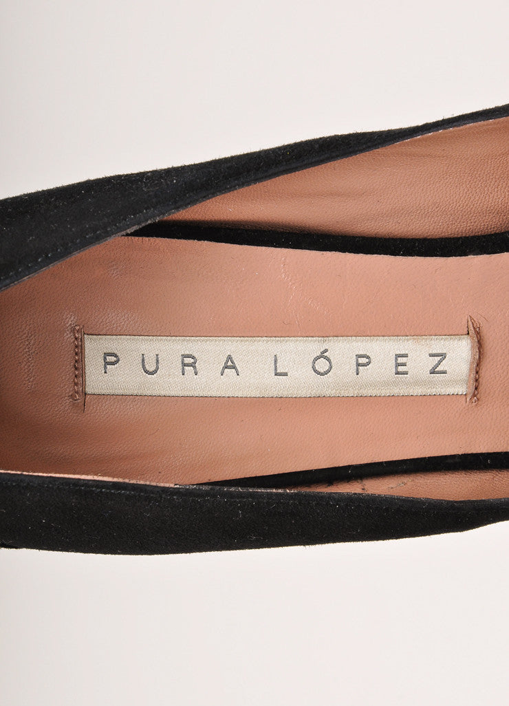 Pura Lopez Black Suede Leather Chunky Wedge Heel Pumps Brand