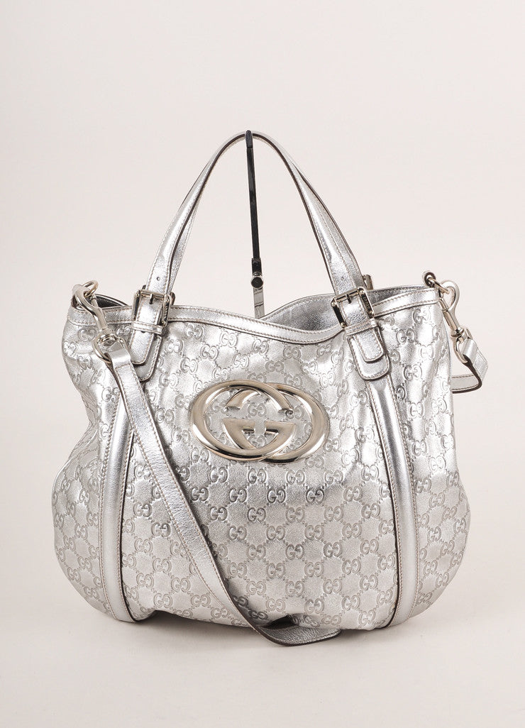 "Gucci Silver Metallic ""GG"" Guccissima Monogram Leather ""Britt"" Tote Bag Frontview"