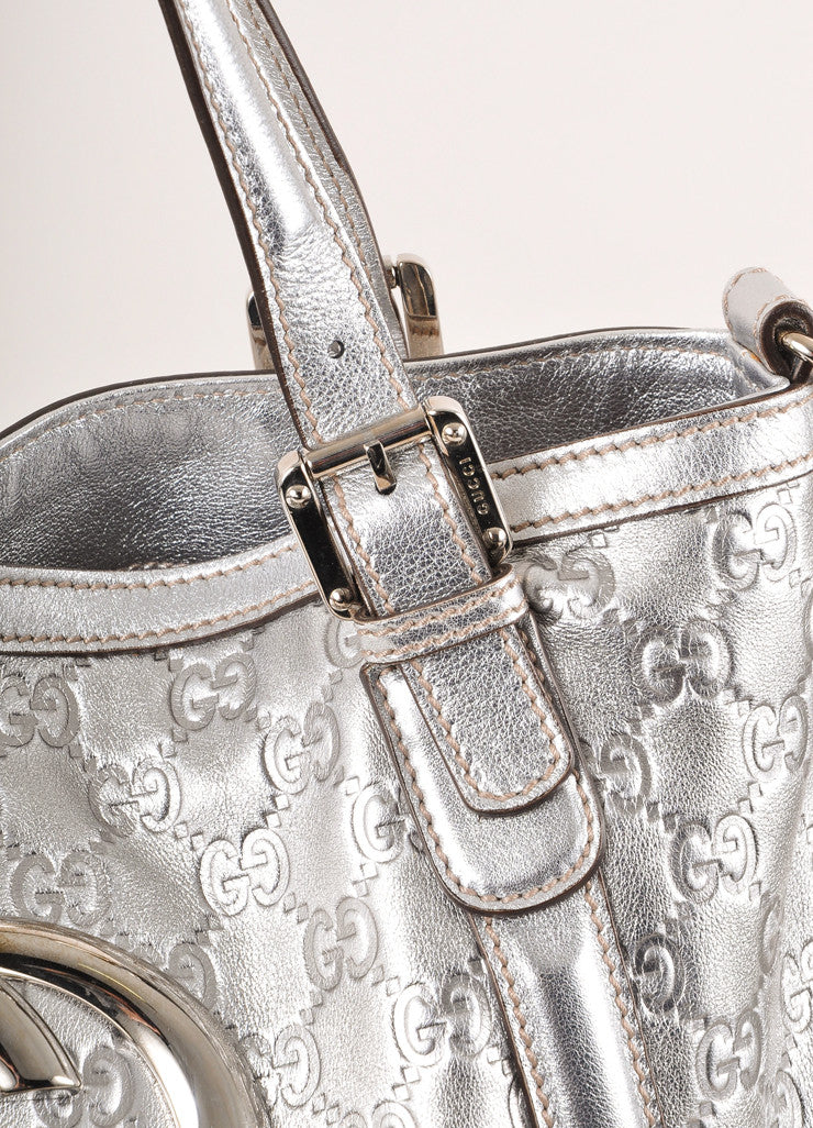 "Gucci Silver Metallic ""GG"" Guccissima Monogram Leather ""Britt"" Tote Bag Detail 2"