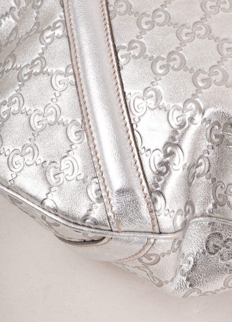 "Gucci Silver Metallic ""GG"" Guccissima Monogram Leather ""Britt"" Tote Bag Detail"