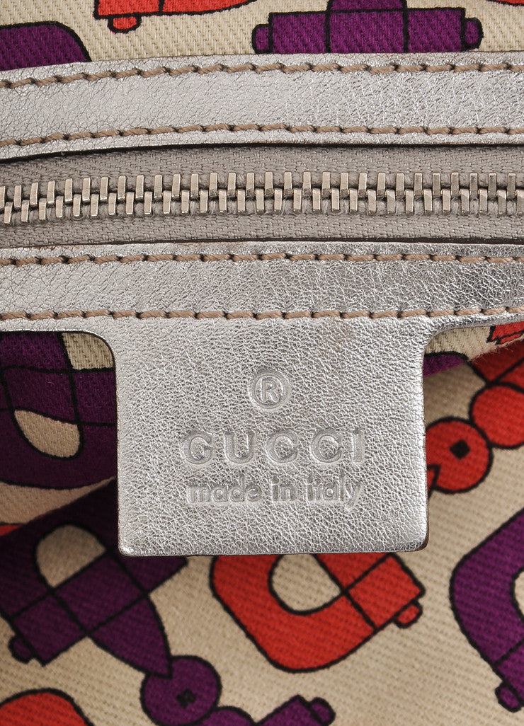 "Gucci Silver Metallic ""GG"" Guccissima Monogram Leather ""Britt"" Tote Bag Brand"