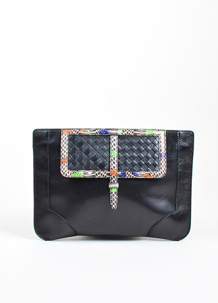 Black and Multicolor Bottega Veneta Leather Snake Trim Clutch Bag Frontview