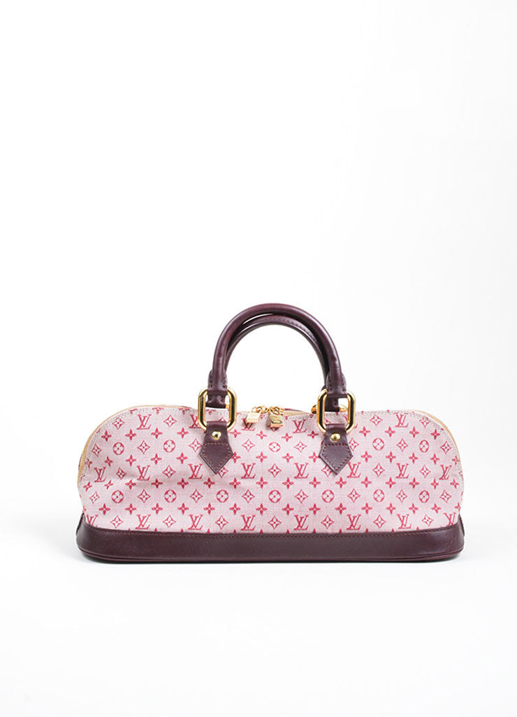 "Pink Louis Vuitton Canvas ""Alma Horizontal"" Zip Satchel Front"