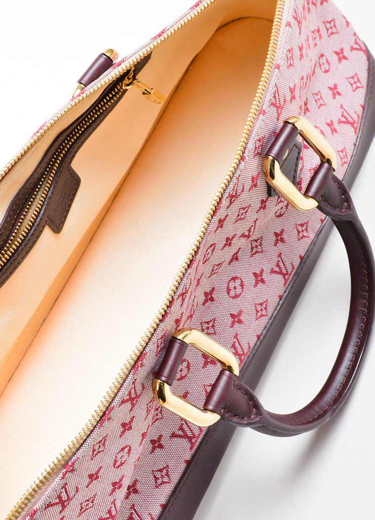 "Pink Louis Vuitton Canvas ""Alma Horizontal"" Zip Satchel Interior"