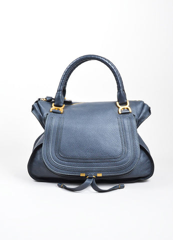 "Navy Blue Pebbled Leather Chloe ""Marcie"" Zip Tote Bag Frontview"