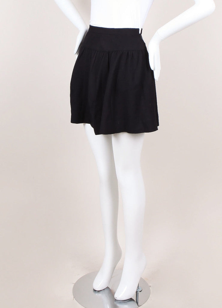 Navy Woven Flared Mini Skirt