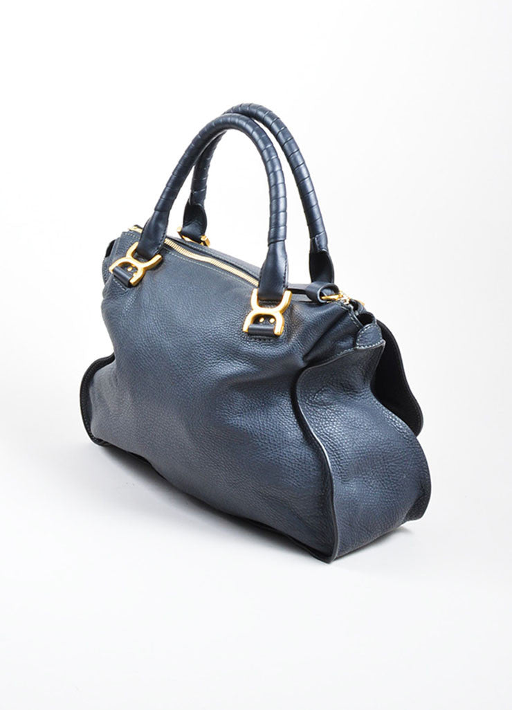 "Navy Blue Pebbled Leather Chloe ""Marcie"" Zip Tote Bag Sideview"