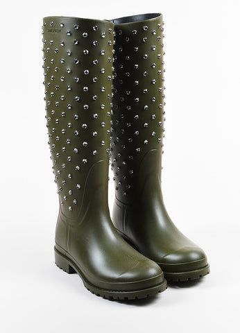 Army Green Saint Laurent Clear Rhinestone Jewel Tall Rain Boots Front