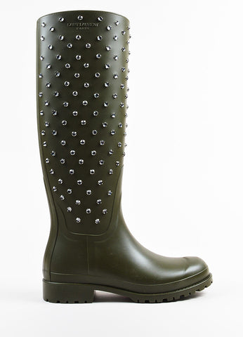 Army Green Saint Laurent Clear Rhinestone Jewel Tall Rain Boots Side