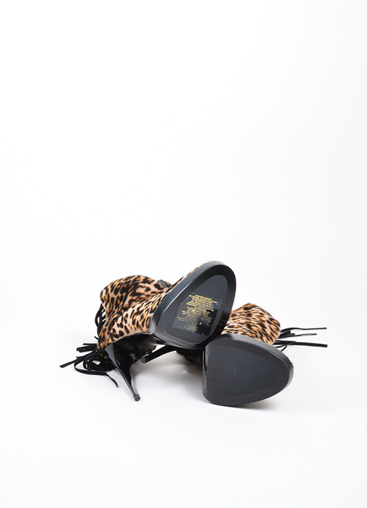 "Leopard Burberry Prorsum Pony Hair Suede Fringe ""Nadie"" Booties Outsoles"