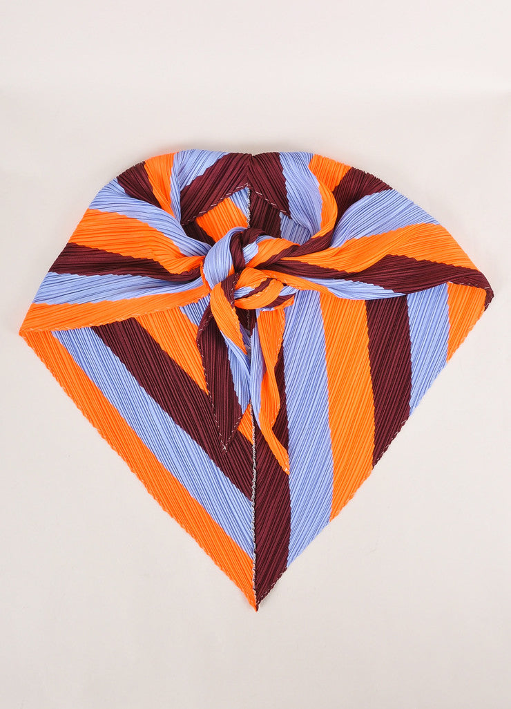 Pleats Please by Issey Miyake Maroon, Orange, and Blue Accordion Pleated Scarf Frontview