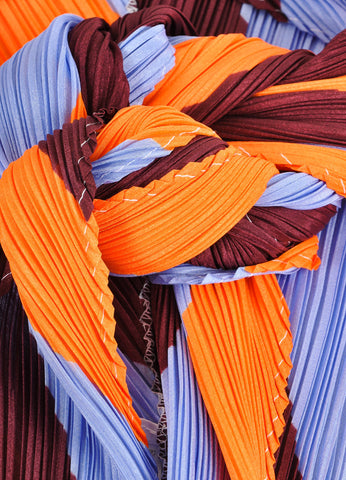 Pleats Please by Issey Miyake Maroon, Orange, and Blue Accordion Pleated Scarf Detail