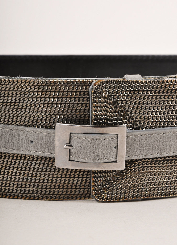 Sportmax Grey Chain Embellished Belt Detail
