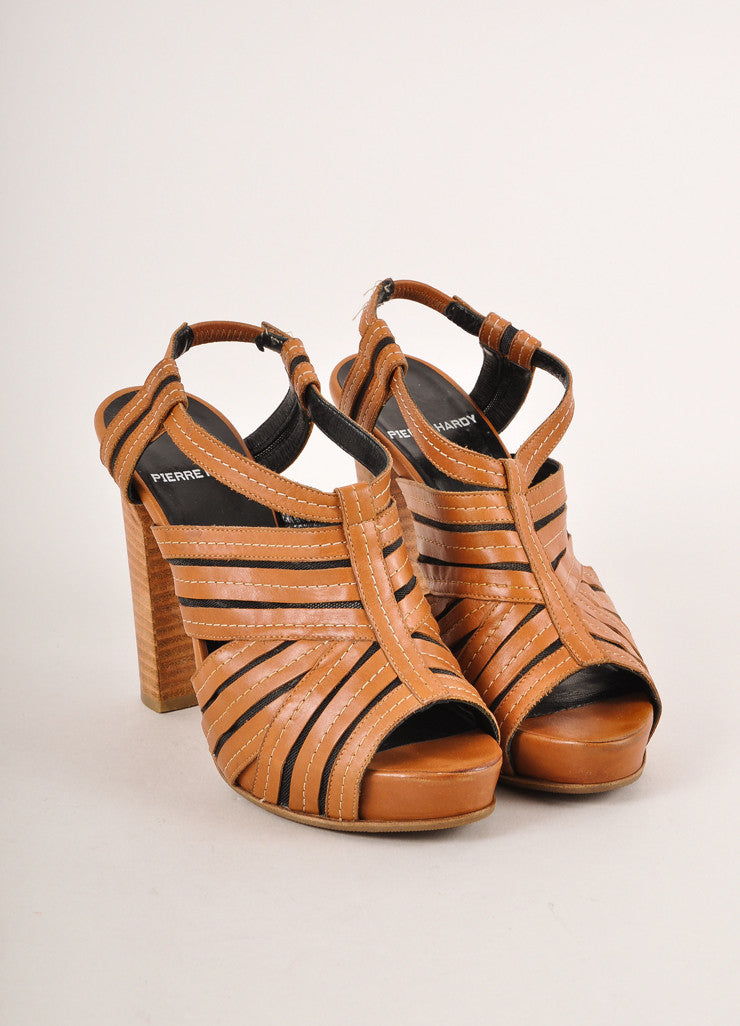 Pierre Hardy Cognac Brown and Black Leather and Mesh Peep Toe High Heel Sandals Frontview