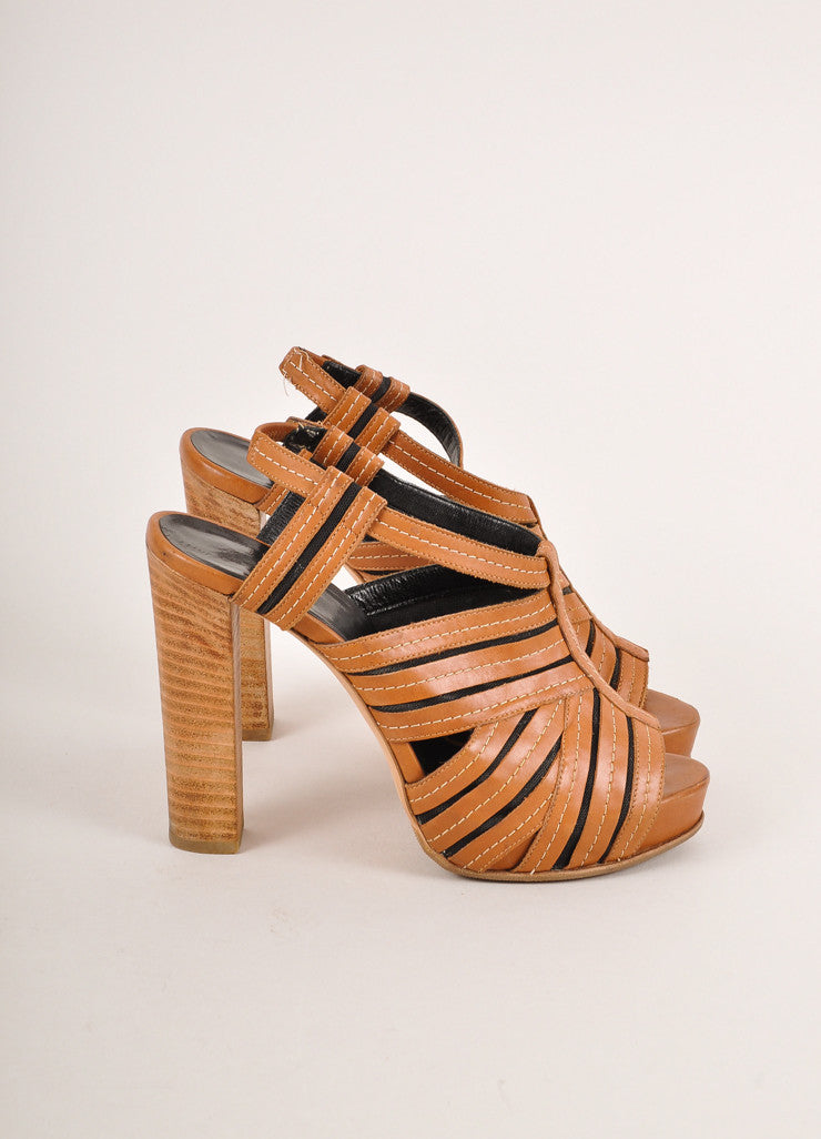 Pierre Hardy Cognac Brown and Black Leather and Mesh Peep Toe High Heel Sandals Sideview