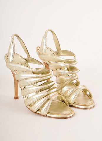 Manolo Blahnik Gold Metallic Strappy Leather Slingback Heeled Sandals Frontview