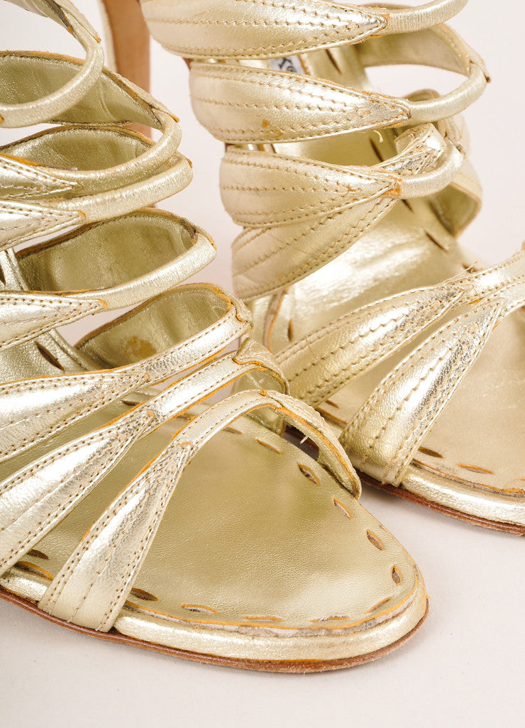 Manolo Blahnik Gold Metallic Strappy Leather Slingback Heeled Sandals Detail