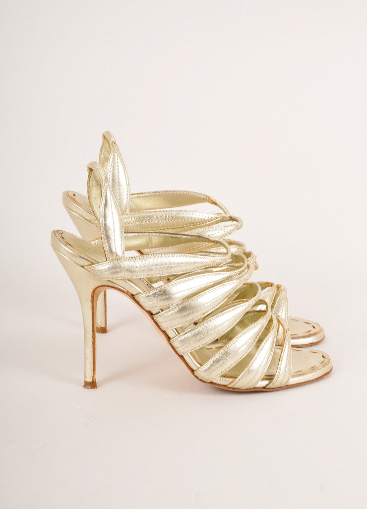 Manolo Blahnik Gold Metallic Strappy Leather Slingback Heeled Sandals Sideview