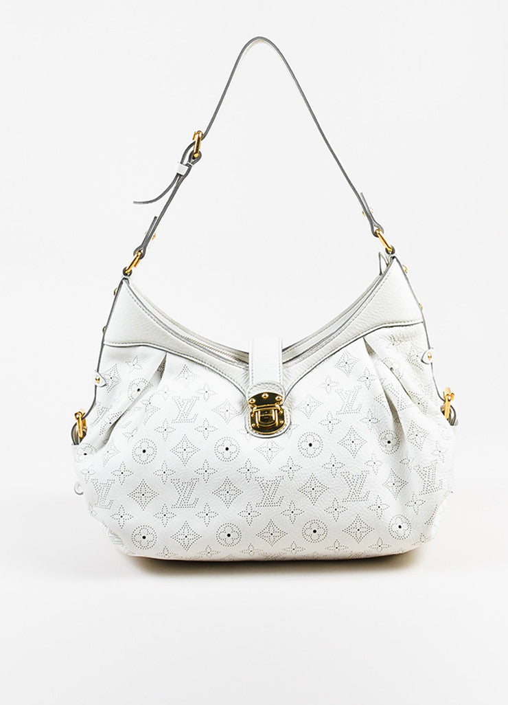"Louis Vuitton White Mahina Leather Perforated Logo ""XS"" Hobo Shoulder Bag Frontview"