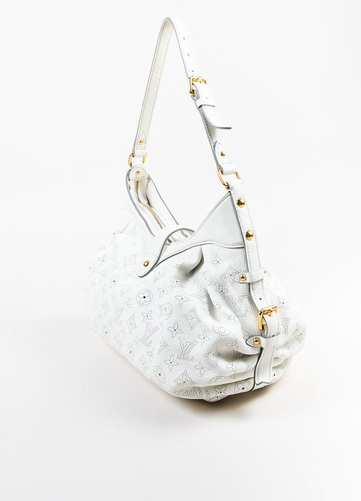 "Louis Vuitton White Mahina Leather Perforated Logo ""XS"" Hobo Shoulder Bag Sideview"