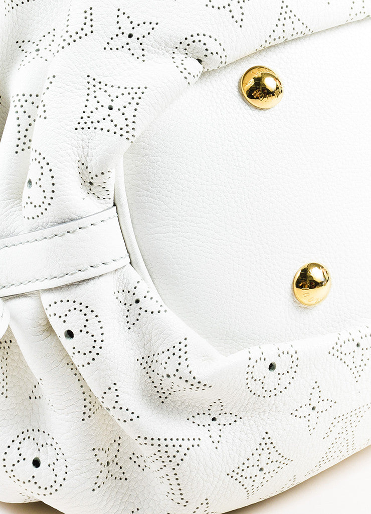"Louis Vuitton White Mahina Leather Perforated Logo ""XS"" Hobo Shoulder Bag Detail"