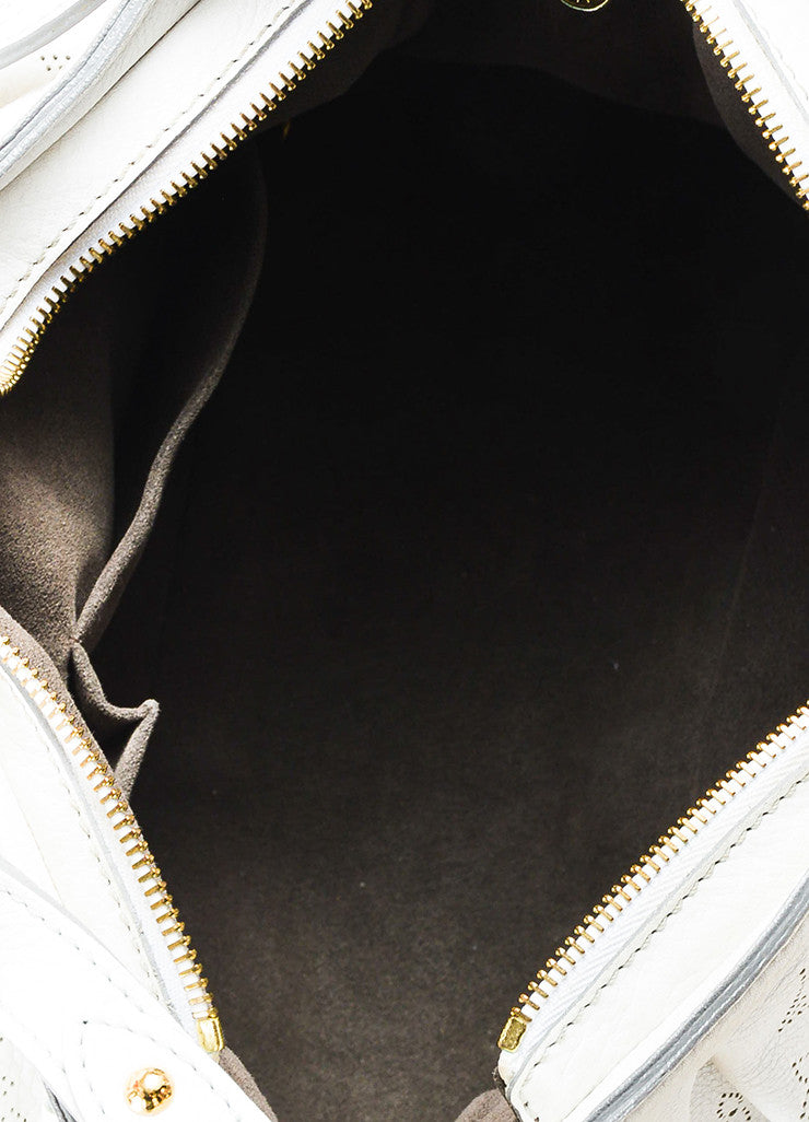 "Louis Vuitton White Mahina Leather Perforated Logo ""XS"" Hobo Shoulder Bag Interior"