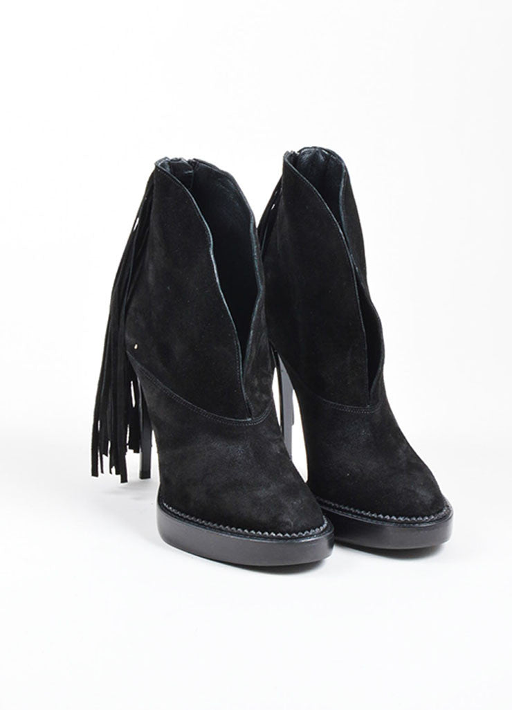 "Black Burberry Prorsum Suede Fringe High Heeled ""Nadie"" Booties Frontview"