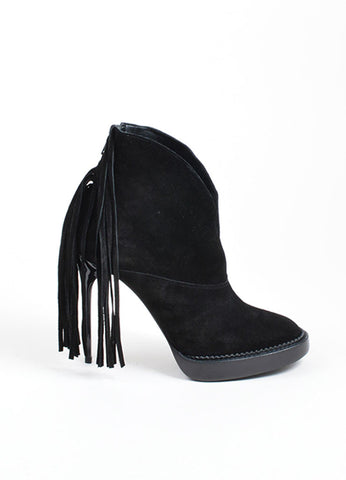 "Black Burberry Prorsum Suede Fringe High Heeled ""Nadie"" Booties Sideview"