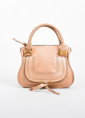 "Blush Pink and Gold Toned Chloe Glossy Python ""Small Marcie"" Satchel Bag Frontview"