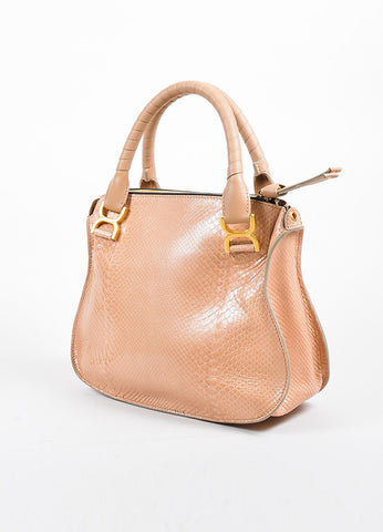 "Blush Pink and Gold Toned Chloe Glossy Python ""Small Marcie"" Satchel Bag Sideview"