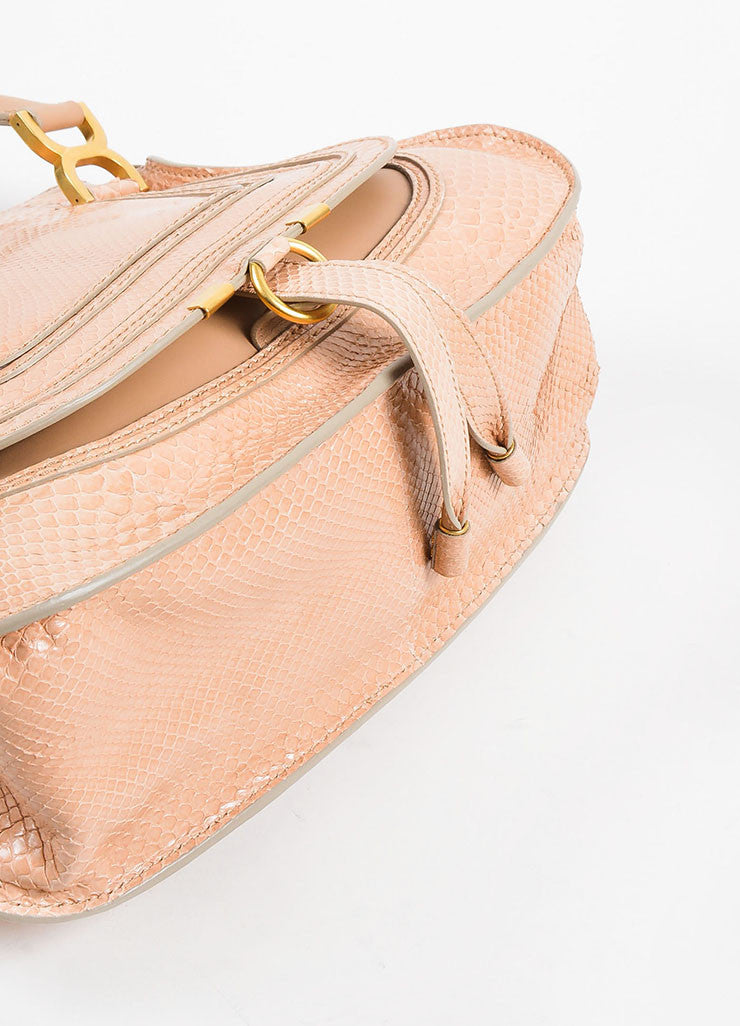 "Blush Pink and Gold Toned Chloe Glossy Python ""Small Marcie"" Satchel Bag Bottom View"