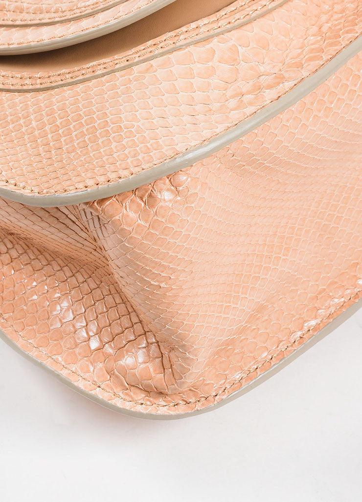 "Blush Pink and Gold Toned Chloe Glossy Python ""Small Marcie"" Satchel Bag Detail"