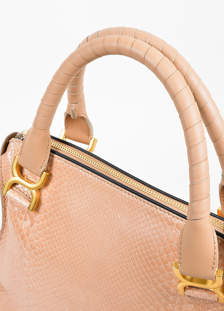 "Blush Pink and Gold Toned Chloe Glossy Python ""Small Marcie"" Satchel Bag Detail 2"