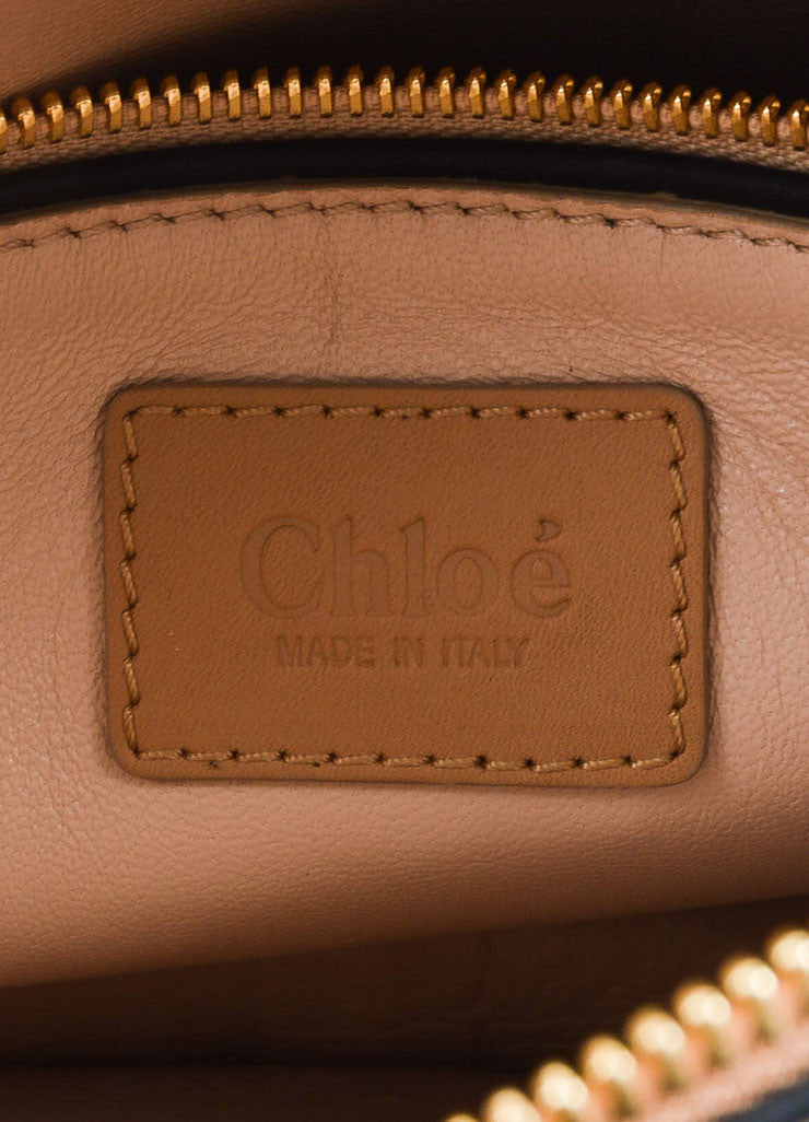 "Blush Pink and Gold Toned Chloe Glossy Python ""Small Marcie"" Satchel Bag Brand"