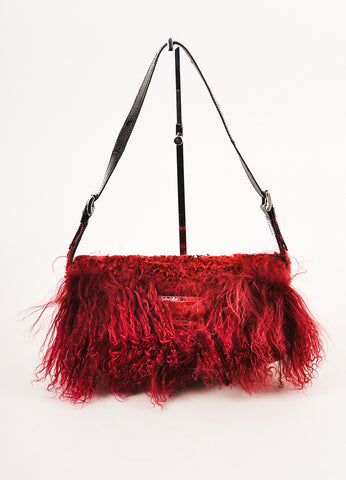 Charles Calfun Dark Red and Black Mongolian Lamb Fur East-West Shoulder Bag Frontview