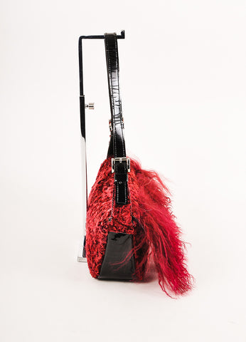 Charles Calfun Dark Red and Black Mongolian Lamb Fur East-West Shoulder Bag Sideview