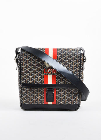 "Goyard  Brown and Multicolor Goyardine Coated Canvas ""Urbain"" Messenger Bag Frontview"