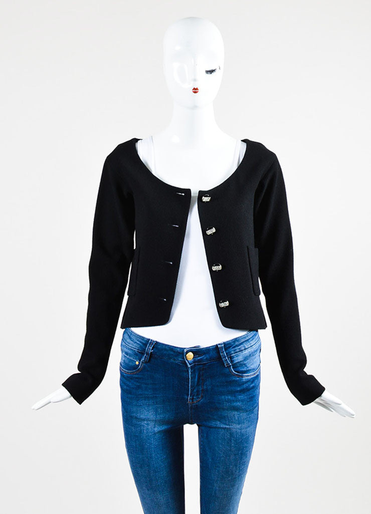 Black Chanel Wool Crepe Rhinestone Button Blazer Jacket  Frontview