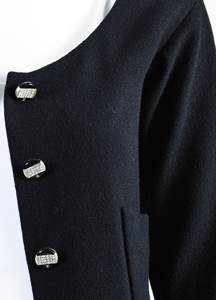 Black Chanel Wool Crepe Rhinestone Button Blazer Jacket Detail