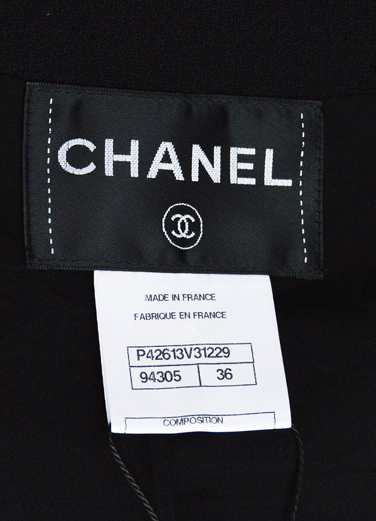 Black Chanel Wool Crepe Rhinestone Button Blazer Jacket Brand
