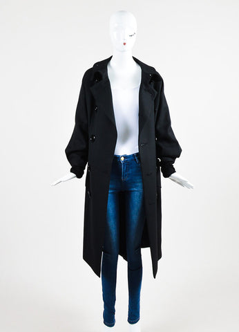 Yohji Yamamoto Black Wool and Silk Tie Double Breasted Coat Frontview