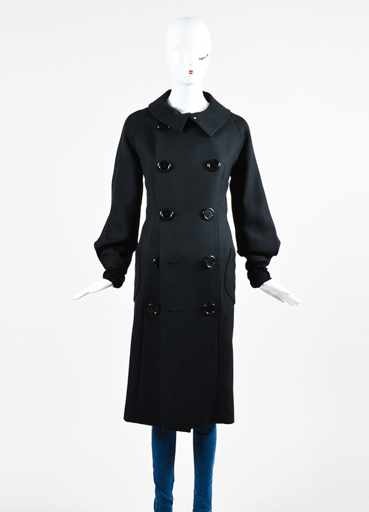 Yohji Yamamoto Black Wool and Silk Tie Double Breasted Coat Frontview 2